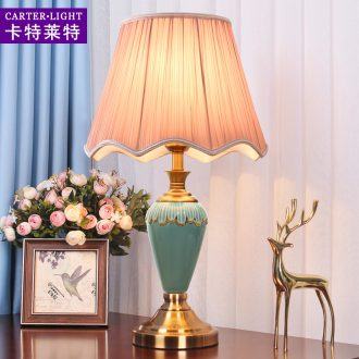 American simple ceramic desk lamp lamp of bedroom the head of a bed warm romantic move study marriage room sitting room dimmer remote control