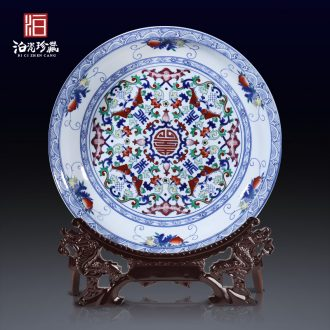 Jingdezhen ceramics archaize color bucket live grain big porcelain hang dish hanging new Chinese style household adornment furnishing articles