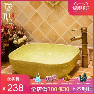 M beautiful European beauty ceramic toilet stage basin sink lavatory basin square blue glaze