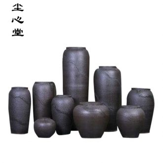 Dust heart of modern retro black thick ceramic POTS cylinder of large sitting room household soft adornment vase