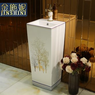 Ceramic one simple column type lavatory basin courtyard balcony toilet basin of vertical ground column
