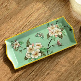 Murphy 's new Chinese style classical high temperature ceramic manual American fruit compote dish furnishing articles creative decorations of a rectangle