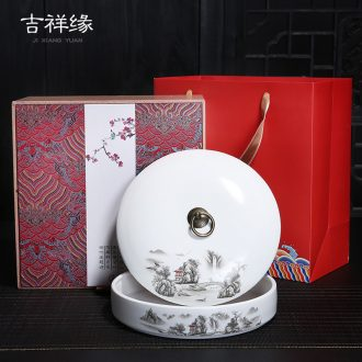 Auspicious margin of the Mid - Autumn festival tea taking tea cake box of high - grade gift boxes ceramic tea pot of white tea cake packaging cartons