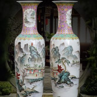 The sitting room of large vases, furnishing articles jingdezhen hand - made famille rose porcelain decorations study hotel gift big yards