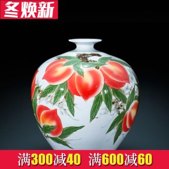 Jingdezhen ceramic vase hand - made peach pomegranate bottle large flower arranging Chinese sitting room adornment is placed a birthday gift