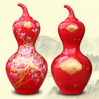 Jingdezhen China red peony ceramic sitting room of large vase a thriving business big gourd decorations furnishing articles
