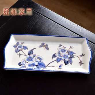 Murphy's new Chinese style classical handmade ceramic bowl American country tea table rectangular table decoration fruit tray