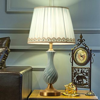American whole copper light key-2 luxury ceramic desk lamp, LED the study of creative move between example of bedroom the head of a bed chandeliers