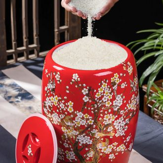 Jingdezhen ceramic barrel with cover sealed container insect-resistant can save box meter 20 jins home small 10 jins ricer box