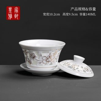 Royal elegant double tureen ceramic cups large hollow out kung fu tea set white porcelain three bowl of tea bowl