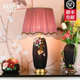 Full copper colored enamel lamp ceramic lamp sitting room luxury art creative romantic marriage room American desk lamp of bedroom the head of a bed