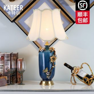 Cartel American desk lamp light colored enamel porcelain French rural living room key-2 luxury European study bedroom berth lamp