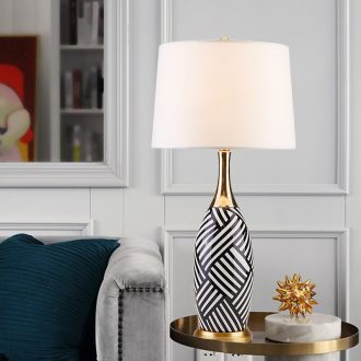 The Desk lamp of bedroom the head of a bed room American postmodern Nordic light key-2 luxury ins all copper model between ceramic lamp, black and white stripes