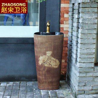 Ceramic floor type restoring ancient ways is a whole sink basin of household balcony column column hotel toilet basin sink