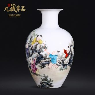 Jingdezhen ceramics dong-ming li hand-painted lad vase Chinese style living room TV ark flower arranging decoration as furnishing articles