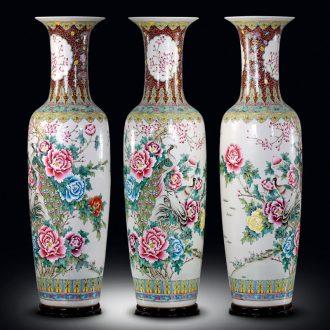 Ceramic floor big vase hand-painted pastel peony sitting room adornment porcelain bottle study porch large furnishing articles