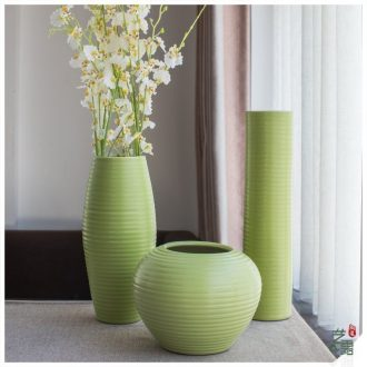 I and contracted vase three - piece household act the role ofing is tasted is green, jingdezhen ceramic sitting room adornment