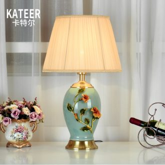 Full copper colored enamel lamp of new Chinese style American key-2 luxury European sitting room warm and creative ceramic lamp of bedroom the head of a bed