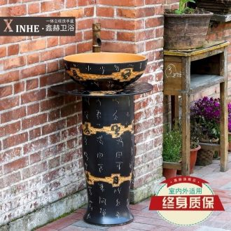 The sink basin under the glaze color of archaize ceramic column column carved art one floor sink vertical basin