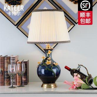 Cartel American key-2 luxury colored enamel lamp full copper lamp of bedroom the head of a bed European ceramic creative villa lighting