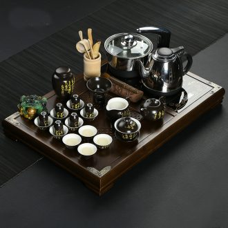 Friends is a complete set of ceramic kung fu tea set suits for your up household solid wood tea tray tea four unity induction cooker tea tray