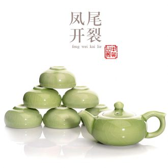 JiaXin kung fu tea set celadon plum green cracking can keep open piece of ice to crack ceramic tea set