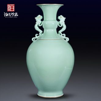 Jingdezhen ceramics archaize pea green glaze dragon ear long belly vase sitting room porch flower arranging home furnishing articles