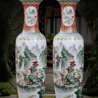 Jingdezhen ceramic pastel landscape of large vase household sitting room adornment flower arranging large - sized hotel furnishing articles