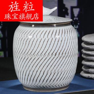 Continuous grain of jingdezhen ceramic POTS puer tea caddy fixings white bread jar airtight 357 g of tea bag