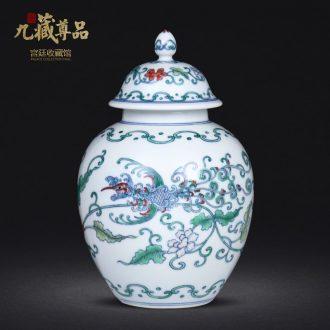 Archaize manual hand-painted porcelain dou colourful feng wearing flower tea caddy jingdezhen ceramics study storage tank