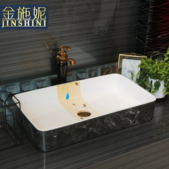 Contracted on the ceramic bowl lavatory square black marble basin of household toilet lavabo art
