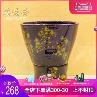 Koh larn, neat package mail of jingdezhen ceramic art basin of mop mop pool mop pool bathroom fangyuan bamboo flowers and birds