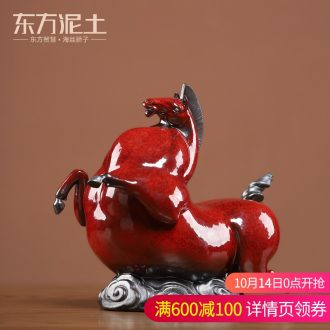 Oriental soil archaize ceramic don horse place to live in the sitting room TV ark, wine Ma Gong desktop decoration art