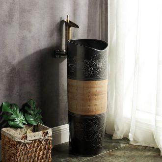 Ceramic pillar square small basin one-piece lavabo mini small family floor type lavatory basin of vertical column