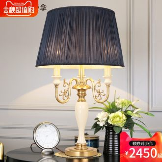 American country full copper ceramic desk lamp luxurious sitting room decorative light sweet bedroom atmosphere bedside lamp villa lamps and lanterns