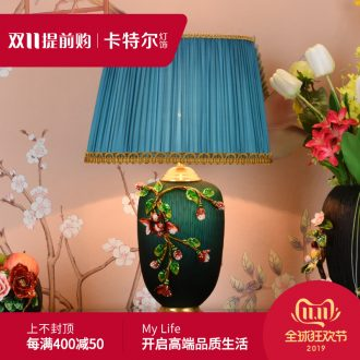 New Chinese style full copper ceramic desk lamp light colored enamel American restoring ancient ways is the sitting room of bedroom the head of a bed lamp high - grade villa lighting