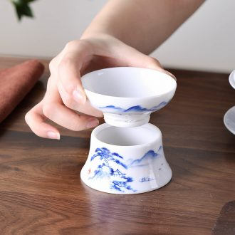 Qiu time ceramic kunfu tea filters white porcelain hand - made scenery) tea - leaf filter tea accessories