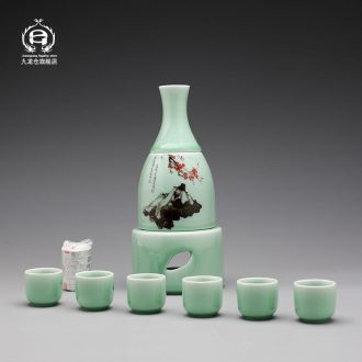 DH jingdezhen ceramic Japanese heating temperature wine pot he its drank with a jar of wine and rice wine warm hot hip flask glass suits for