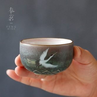 Serve tea crude after getting the sample tea cup as cranes masters cup bowl individual mugs single kung fu tea cup