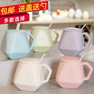 HaoFeng creative mark cup with cover teaspoons of glass ceramic tea cup of milk a cup of coffee cup tide water glass office cup