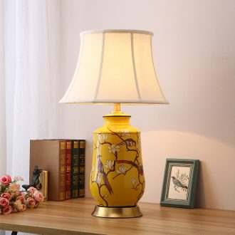 American desk lamp European rural living room corner of new Chinese style of bedroom the head of a bed a few full copper jingdezhen ceramic lamp