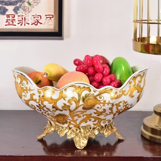 Murphy American light luxury classical painting ceramics with copper big fruit bowl basin of contemporary sitting room home furnishing articles of dried fruit