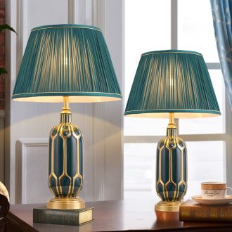 New jingdezhen ceramic desk lamp warm bedroom berth lamp light key-2 luxury American - style Nordic New Chinese style restoring ancient ways is the living room towns