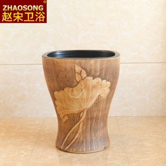 Chinese style restoring ancient ways ceramic household small balcony mop pool small space basin mop mop pool slot outdoor 35 cm