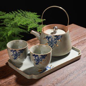 Coarse pottery pot a pot of restoring ancient ways travel two cups of tea set ceramic kung fu tea set Japanese single girder pot pot kettle