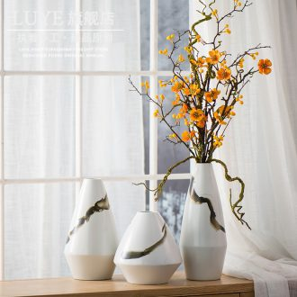 New Chinese style ceramic vase three - piece suit I household adornment jingdezhen desktop furnishing articles sitting room dry flower arranging flowers