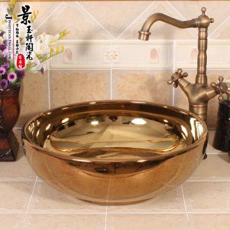 Gold - plated smooth sanitary ware jingdezhen ceramics art basin stage basin sinks