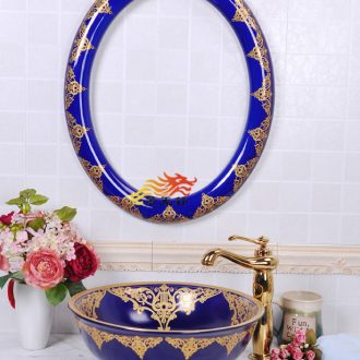 JingYuXuan ceramic lavabo sapphire blue diamond basin and framed art basin integrated ceramic basin to the hand of the basin that wash a face