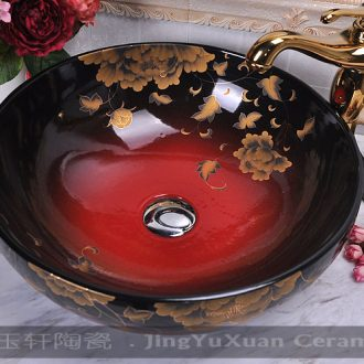 Jingdezhen ceramic red and black yellow iris ceramic art basin on its lavatory sink basin