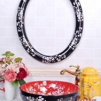 Jingdezhen ceramic red black gold branch name plum oval frame with the stage basin bathroom sinks art basin